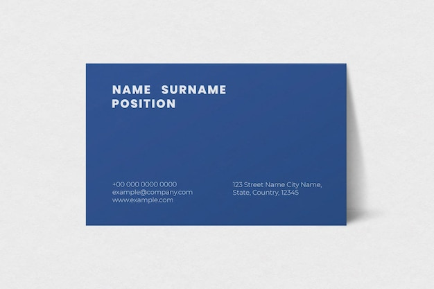 Simple business card mockup in blue tone
