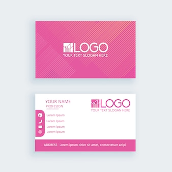 Simple business card pink template or visiting card