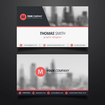 Simple business card with a blurred background
