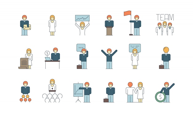 Simple business team icon. social communication meeting group or person work discussion presentation thin line colored symbols