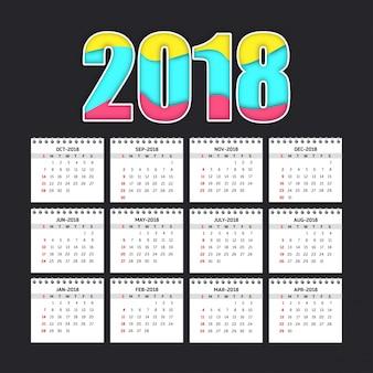 Simple calendar for 2018
