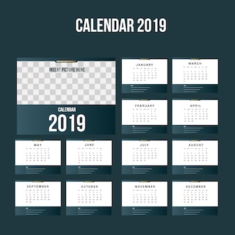 Simple calendar 2019 background template