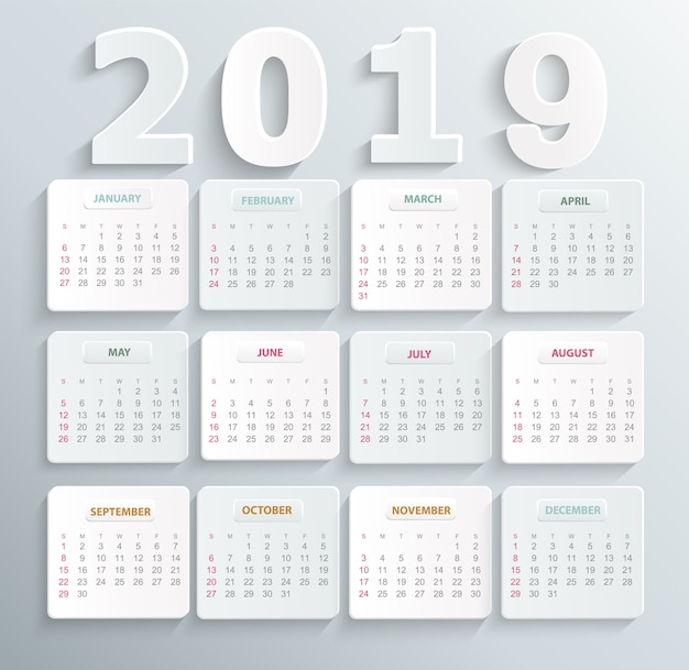 Simple calendar for 2019 year