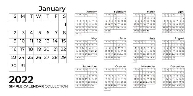 グリッド付きのシンプルなカレンダー2022