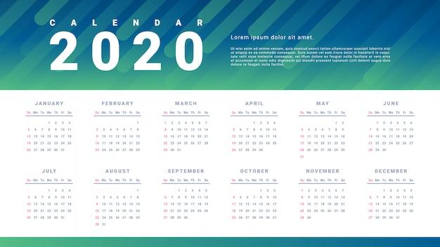 Simple calendar template for 2020