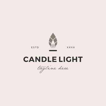 Simple candle light  logo design vector illustration