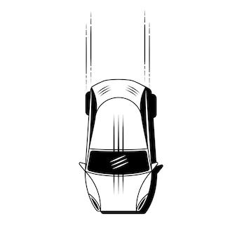 シンプルな車のアイコンベクトル。フラットハッチバックのシンボル。白い背景の上の完璧な黒のピクトグラムイラスト。