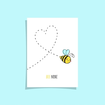 Simple card design with two bee in the sky drawing heart. cute illustration with cute bee and text bee mine