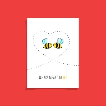Simple card design with two bees in the sky drawing heart. cute illustration with cute bees.