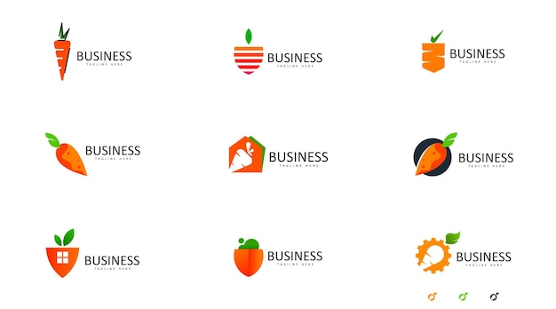 비즈니스 요구에 대 한 간단한 당근 로고 개념 당근 로고 벡터
