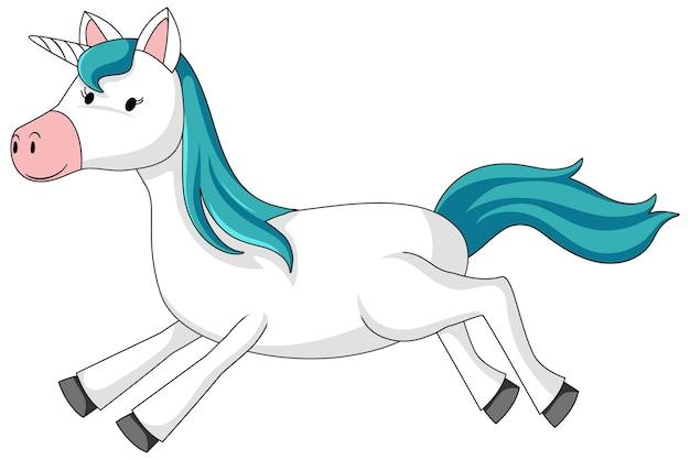 Simple cartoon character of cute unicorn isolated