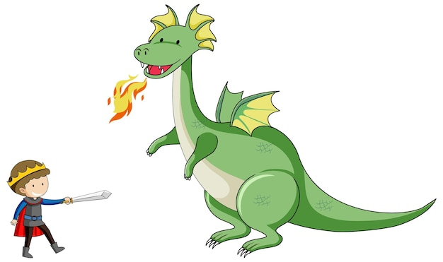 Simple cartoon character of dragon breathing fire and the knight