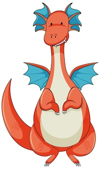 Simple cartoon character of dragon isolated