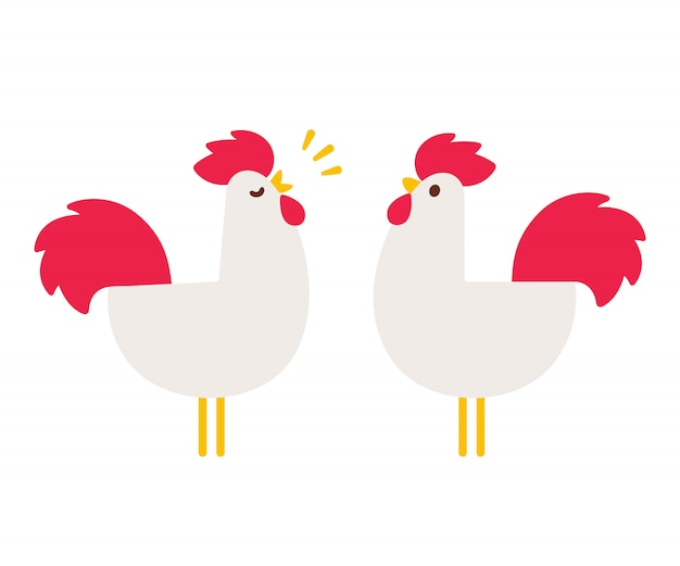 Simple cartoon roosters