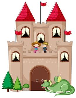 Stile semplice del fumetto del castello isolato su bianco