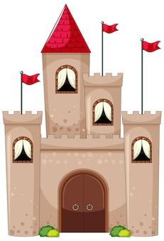 Semplice stile cartone animato del castello isolato su bianco