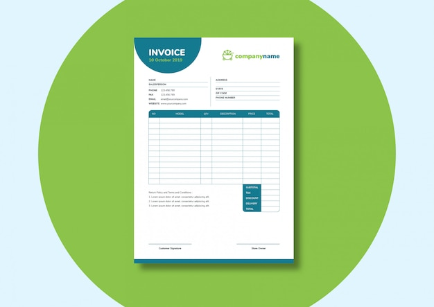 Simple casual fun invoice template