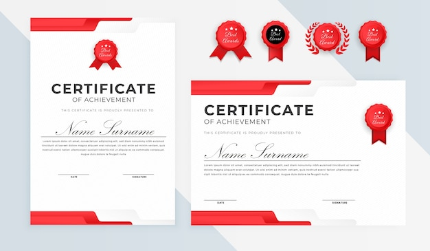 Simple certificate award diploma with bagdes