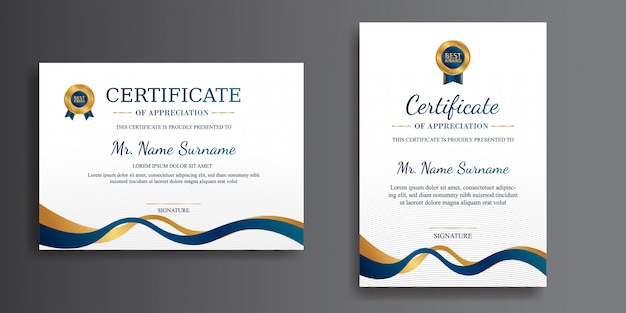 Simple certificate in blue and gold with gold badge  template for diploma document