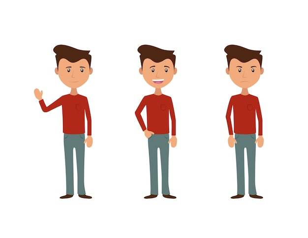 Simple character in three moods