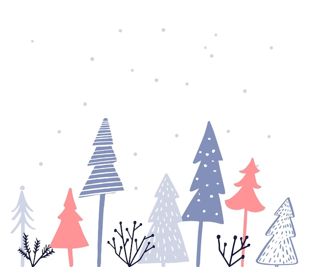 Simple christmas card design different christmas tree on white pink and blue spruces