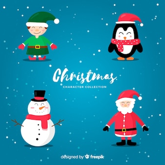 Simple christmas characters collection
