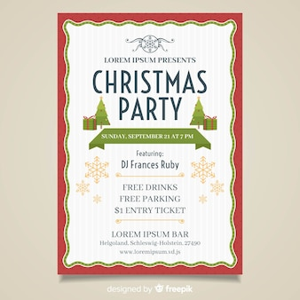 Simple christmas party poster template
