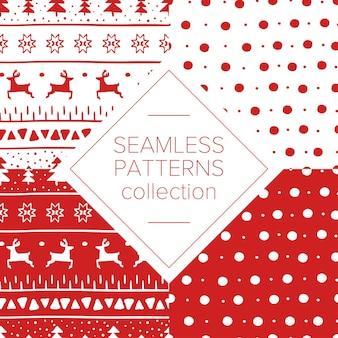 Простые рождественские узоры с оленями, рождественскими елками, полосами, точками и рождественскими звездами