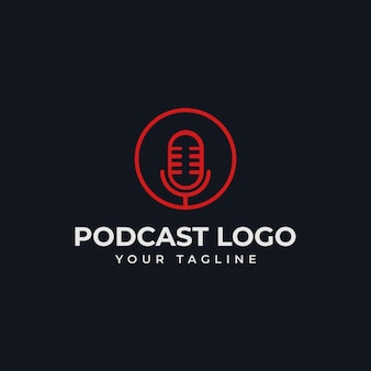 Simple circle microphone podcast radio line logo template