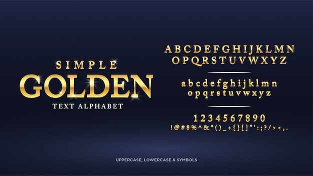 Simple classic gold text alphabet