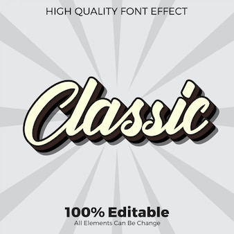 Simple classic script text style editable font effect