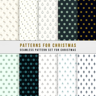 Simple classic xmas seamless pattern set