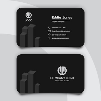 Simple and clean black real estate business card template design