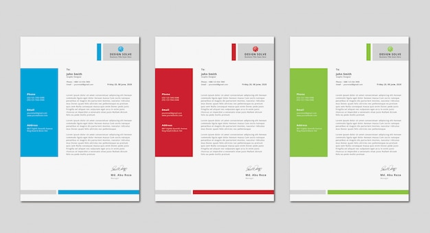 Simple clean modern business letter head design