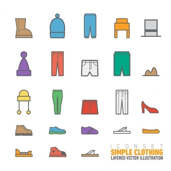 Simple clothing icons pack
