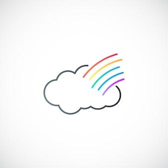シンプルな雲と虹のシンボル