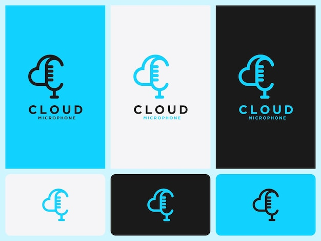 Simple cloud logo and microphone initial c