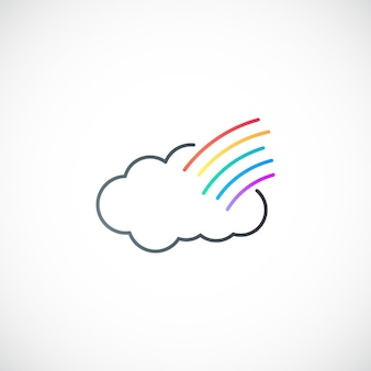 Simple cloud and rainbow symbol