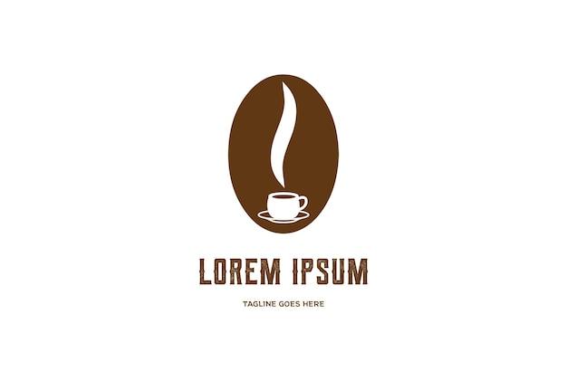Simple coffee bean mug hot coffee cafe restaurant logo design vector