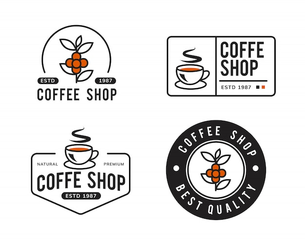 Simple coffee logo template design