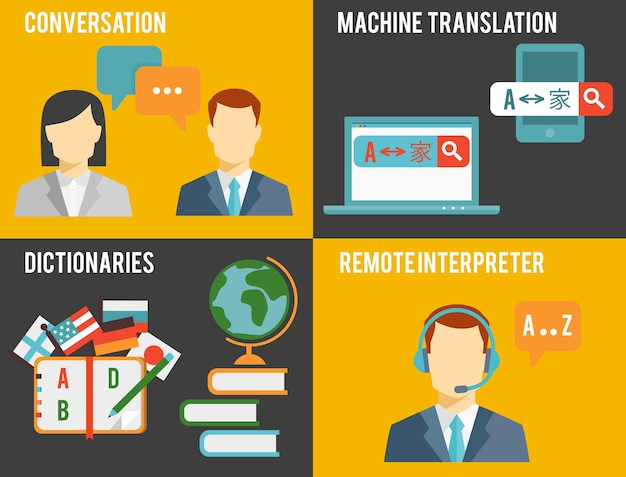 Semplice illustrazione colorata del concetto di traduzione in lingua straniera.