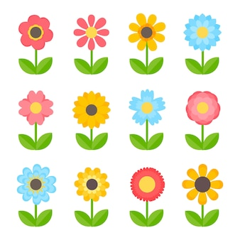 Набор простых красочных цветов