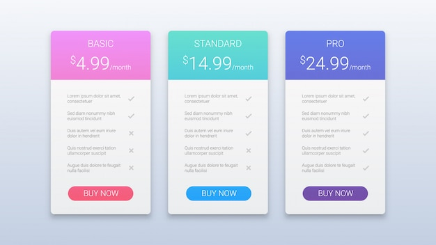 Simple colorful pricing table template