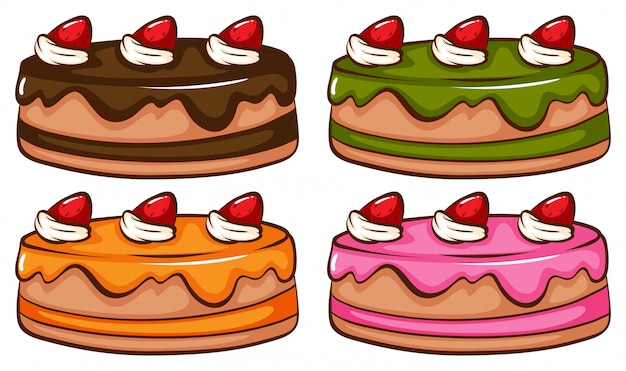 A simple coloured sketch of the cakes