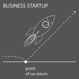Простая контурная графическая концептуальная иллюстрация, созданная схемой на тему открытия бизнеса для использования в дизайне открыток, плакатов, баннеров, плакатов или обложек рекламных щитов.