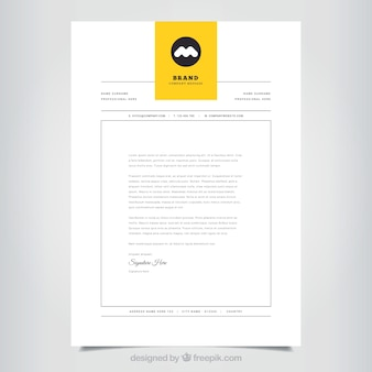 Simple corporate brochure with a yellow tab