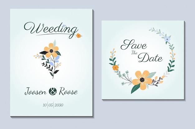 Простая обложка свадебное приглашение цветочная рамка