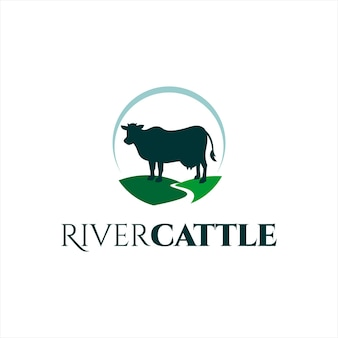 Simple cow logo animal vector silhouette river cattle