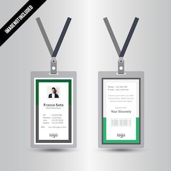 Simple Creative Green Staff Id Card Design Template