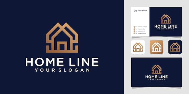 Simple creative home with stylish line logo template and business card